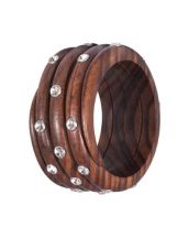 Wooden Bangle with Swarovski Stones OWOBA-04