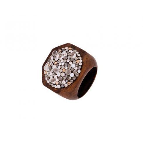Swarovski kristályos, gyöngyös fagyűrű OWORI-08