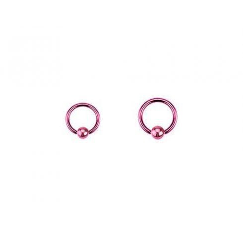 Pink pvd golyózáras karikapiercing PI-BCR