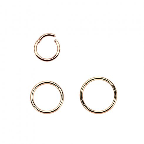 Rózsaarany (rosé/rozé, rose gold) pvd, csuklós szegmenszáras, vékony karikapiercing - nostril, tragus, helix RG-BHRSN