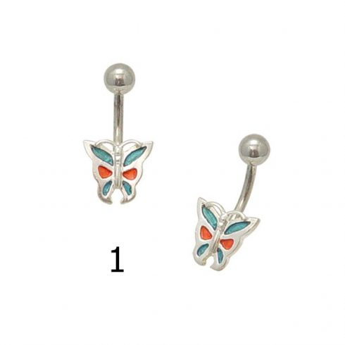 Enameled Butterfly - Silver Belly Piercing