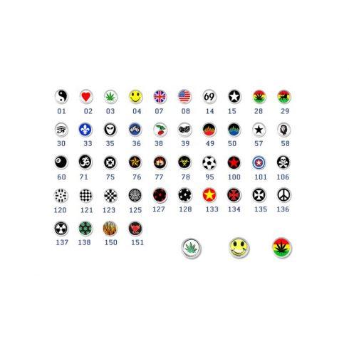Acél piercinggolyók képpel, logóval ST-Piball