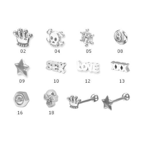 Acél nyelvpiercing-kiegészítők ST-XRA