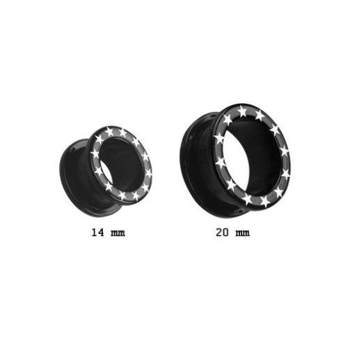 Fekete akril fültágító persely csillagokkal VFTBKS-L