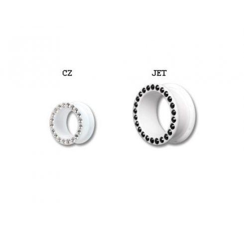 Swarovski kristályos fehér akril fültágítók 6-8 mm VFTWHJ